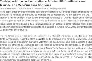 Tunisie - création de l'association « Artistes 100 frontières » sur le modèle de Médecins sans frontières copie